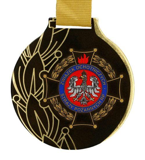 Medal z nadrukiem q-medals standard pluszwiązek ochotniczych straży pożarnych - złoty medal z czarnym nadrukiem i logiem OSP