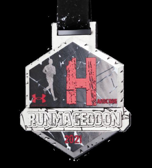 Medal Runmageddon z nadrukiem na czarnej sublimacyjnej wstążce